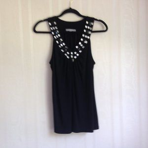 My Collection Black Top with Gemstone Accents